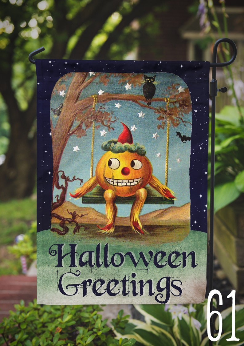 Garden Flag Vintage Halloween Pumpkin Guy Outdoor Flag image 0