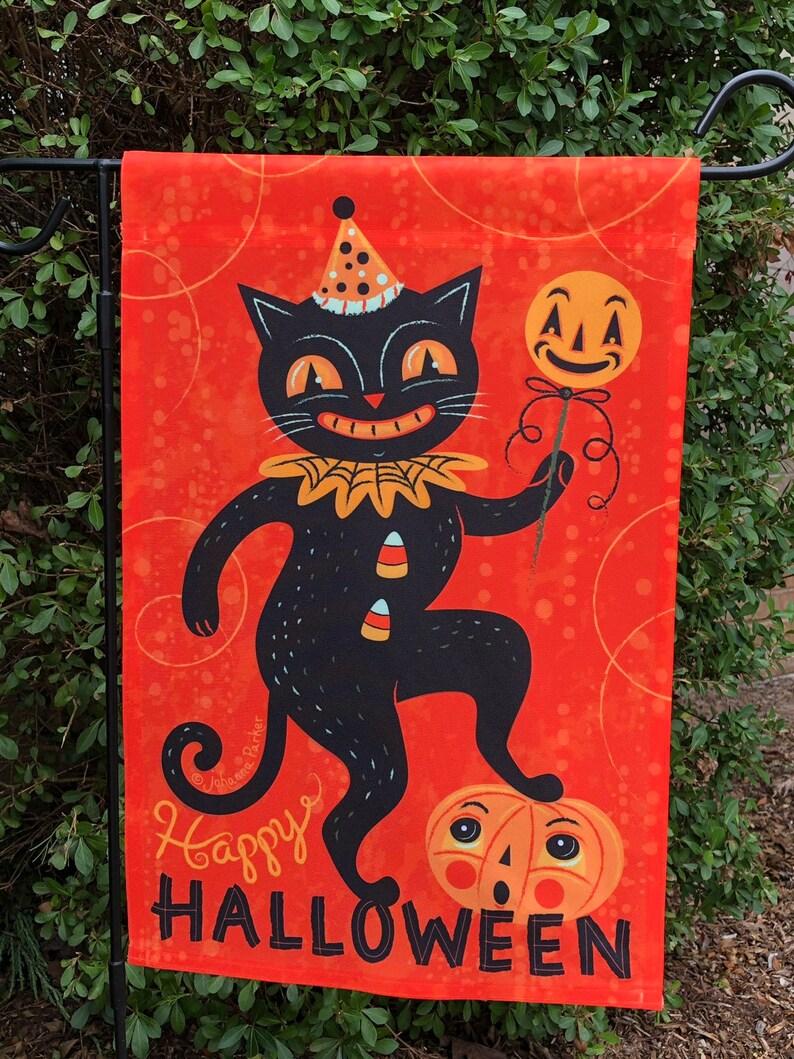 Small Garden Flag Halloween Dancing Black Cat Johanna Parker image 0