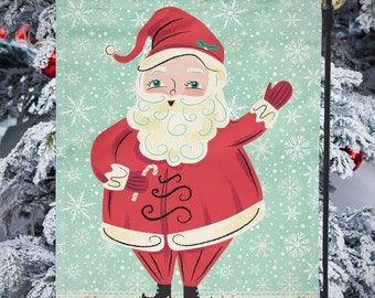 SHIPS AFTER 11/1/2021 Small Garden Flag Christmas Holiday Santa Waving Johanna Parker Design Garden Flag