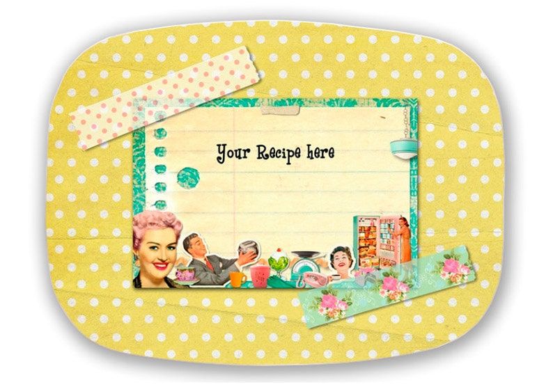 Melamine Platter Personalized FAVORITE RECIPE Collage yellow image 0