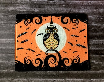 Personalized Glass Recipe Cutting Board Johanna Parker Full Moon Perched Owl