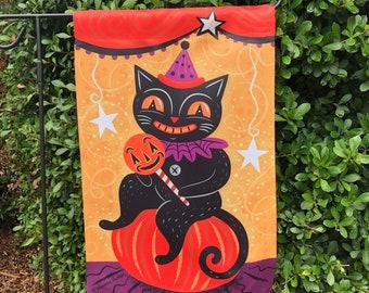 Small Garden Flag Halloween Pumpkin Sitter Jack Johanna Parker Design Garden Flag