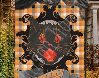 Garden Flag Halloween Vintage Black Cat Spooky Vibes