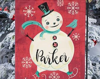 SHIPS AFTER 11/1/2021 Small Garden Flag PERSONALIZED Christmas Jolly Skater Snowman Johanna Parker Garden Flag