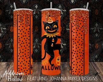 30 oz Skinny Drink Tumbler with Metal Straw Johanna Parker Halloween Black Cat Jack