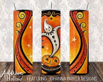 30 oz Skinny Drink Tumbler with Metal Straw Johanna Parker Halloween Ghost Genie