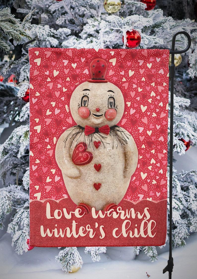 Small Garden Flag Valentines Heart Love Snowman Winter Johanna image 0