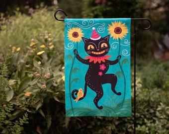Small Garden Flag Sunflower Garden Cat Aqua Johanna Parker Design Garden Flag