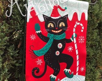 SHIPS AFTER 11/1/2021 Small Garden Flag Christmas Holiday Festive Black Cat Johanna Parker Design Garden Flag