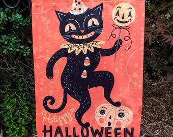 Small Garden Flag Halloween Dancing Black Cat Johanna Parker Design Garden Flag
