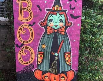 SHIPS AFTER 11/1/2021 Small Garden Flag Halloween Purple Witch Johanna Parker Design Garden Flag