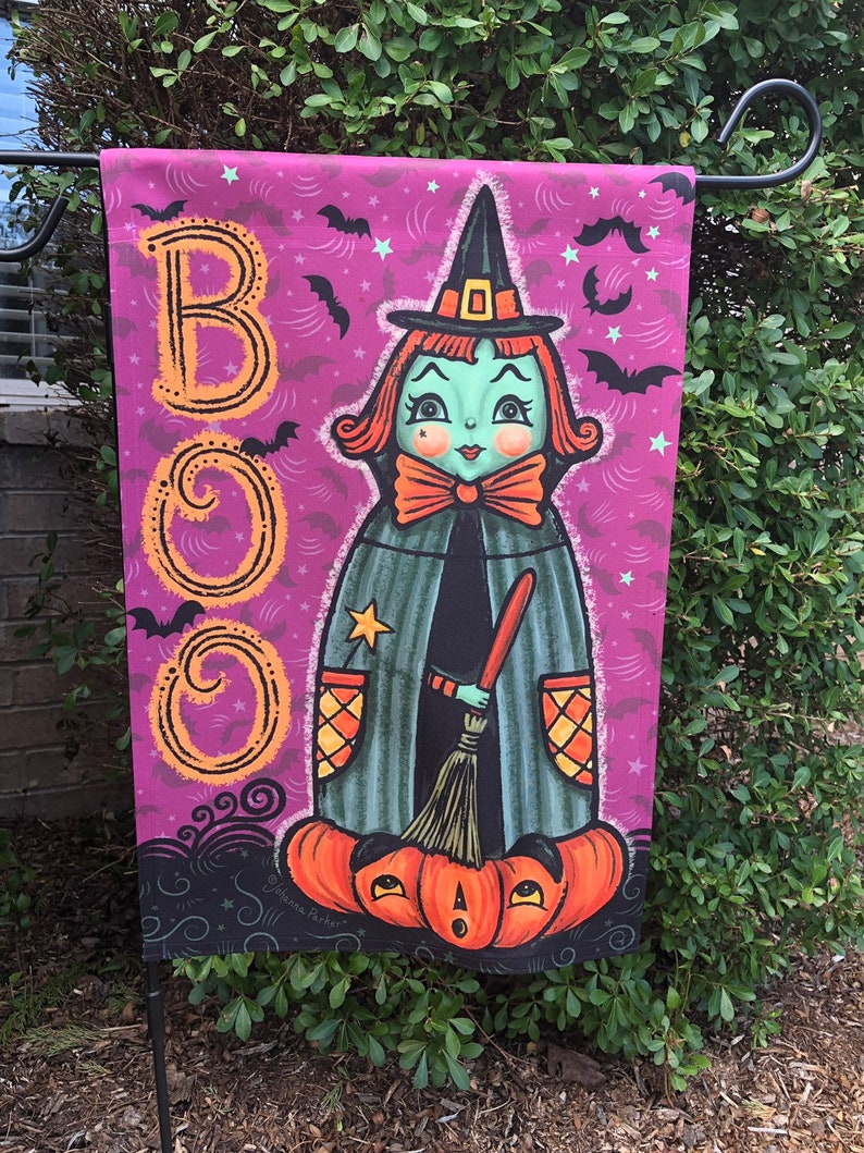 Small Garden Flag Halloween Purple Witch Johanna Parker Design image 0