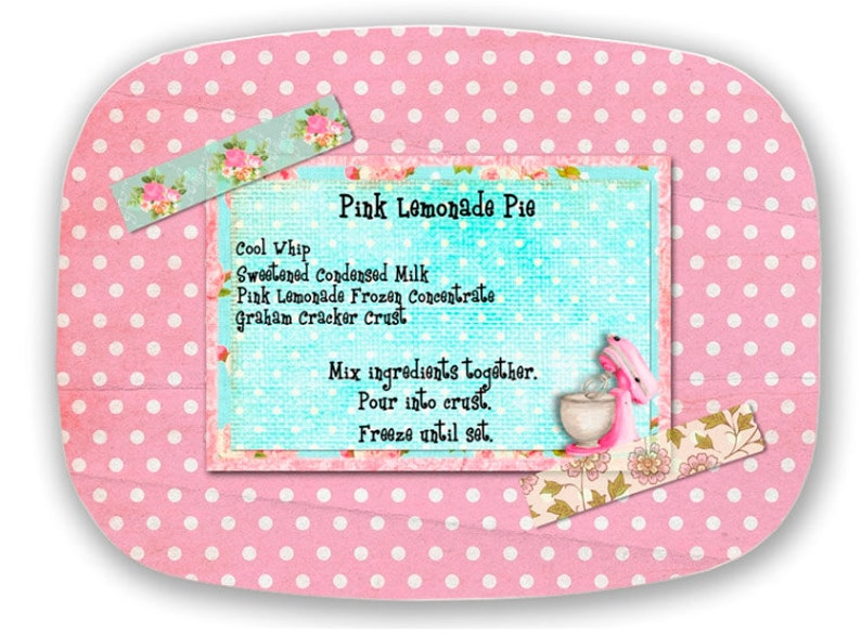 Melamine Platter Personalized FAVORITE RECIPE pink Collage image 0