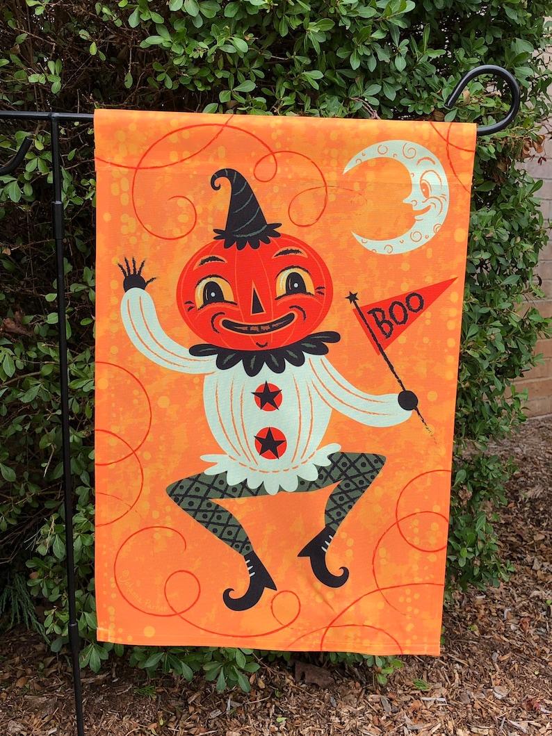 Small Garden Flag Halloween Dancing Jack-o-Lantern Johanna image 0