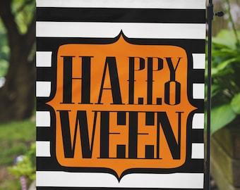 Garden Flag Halloween Black White Stripes Outdoor Flag