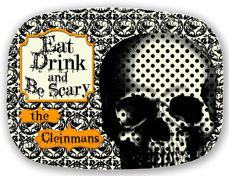 Melamine Platter EAT Drink and BE SCARY VINtAGe Collection image 0