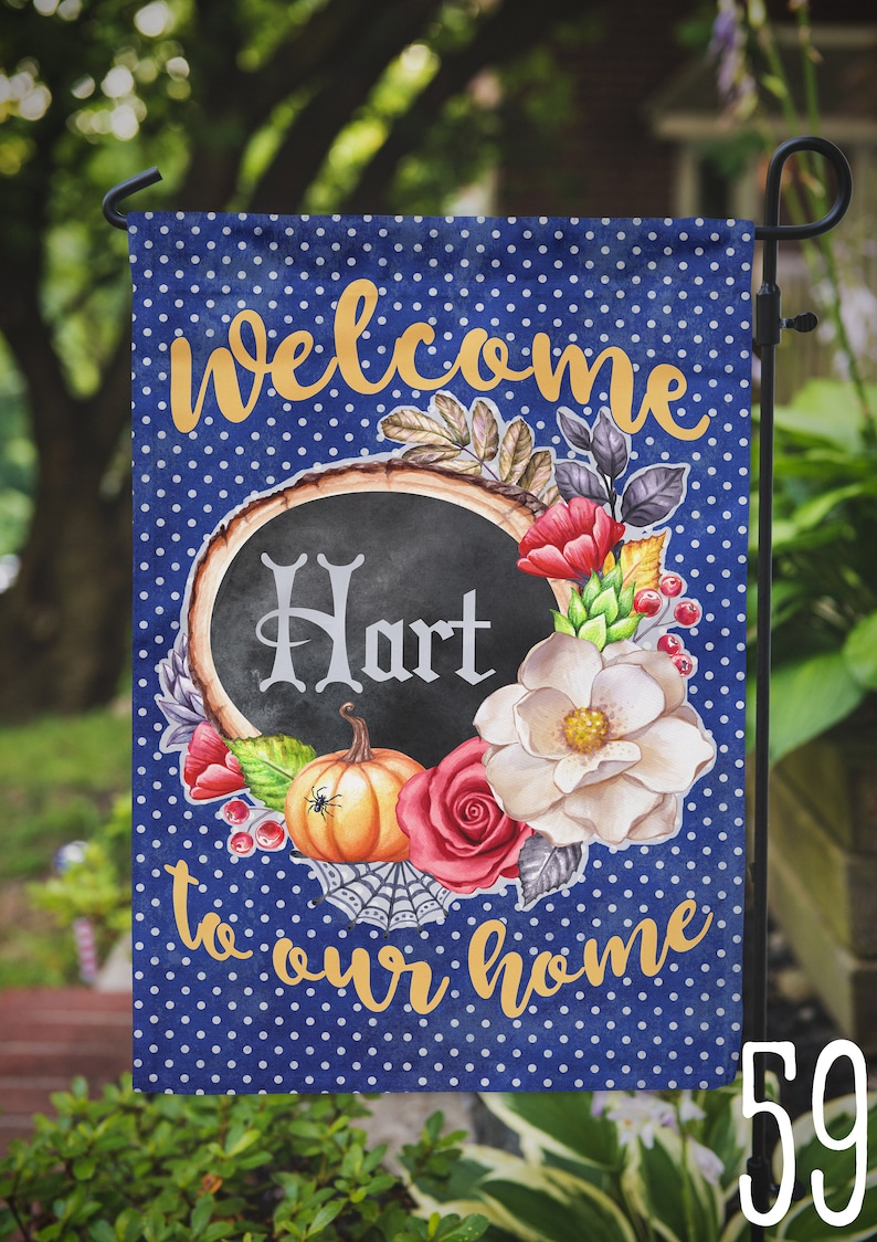 Garden Flag Fall Halloween Personalized Name Monogram Family image 0
