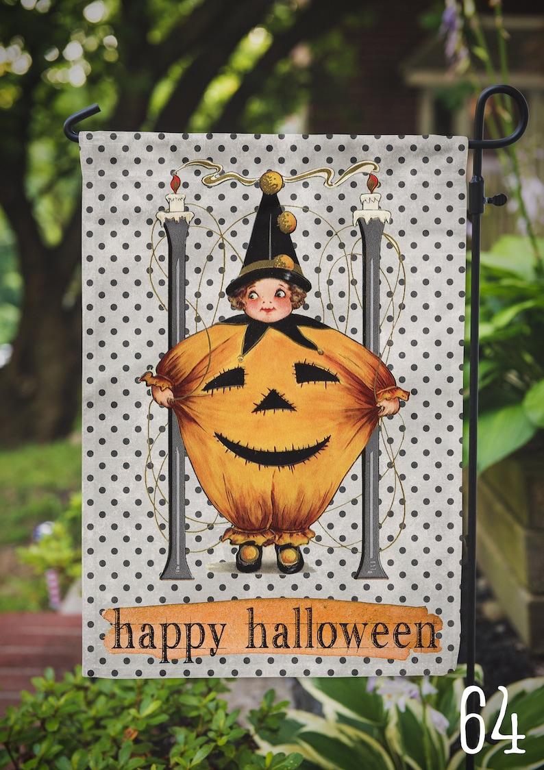Garden Flag Vintage Halloween Pumpkin Kid Outdoor Flag image 0