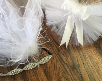 Bachelorette party upgraded Crystal Rhinestone Headband Veil Hen Party Stagette