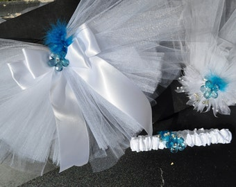 Bachelorette Party Set: Bridal Booty Veil™, Head Veil, and Garter with Teal or Turquoise Center Crystal
