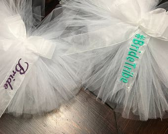 BrideSquad Embroidered Bachelorette Party Booty Veil™ - clips to any bikini or skirt Hen Party Stagette Bikini Veil