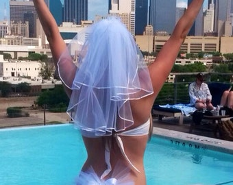 Bachelorette Party Bridal Veil - high quality bridal veil that matches your Booty Veil