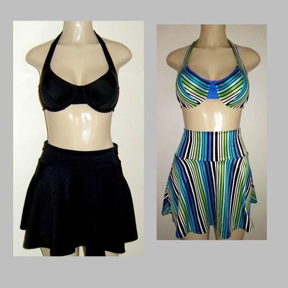ff32bd6b99 Halter underwire tops skirt swimwear bottoms High waist swim