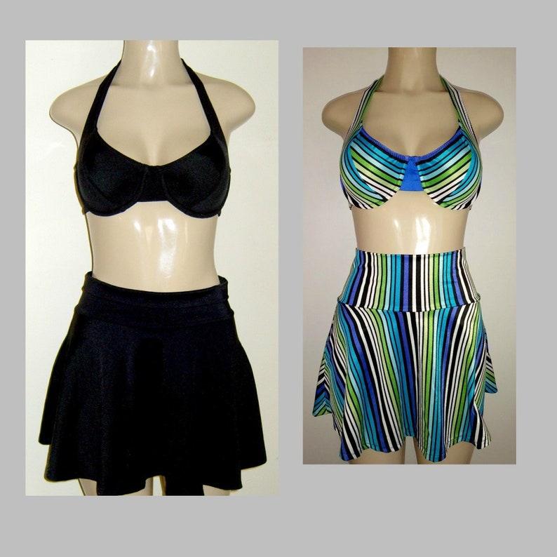 b3b8fc8f1c8c2 Halter underwire tops skirt swimwear bottoms High waist swim