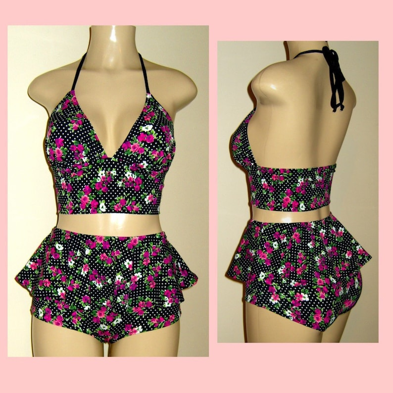 81795e059c0 Short tankinis women s triangle tops peplum skirt bottom