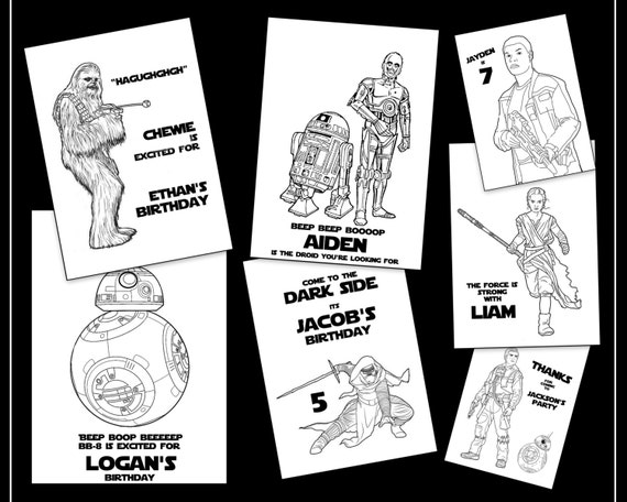 Star Wars Personalized Coloring Book New Episode 7 Characters Printable Download Pdf Party Favor Or Gift For Kids Adults Bb 8