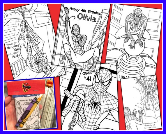 Spiderman Personalized Coloring Book Emailed As A PDF | Etsy