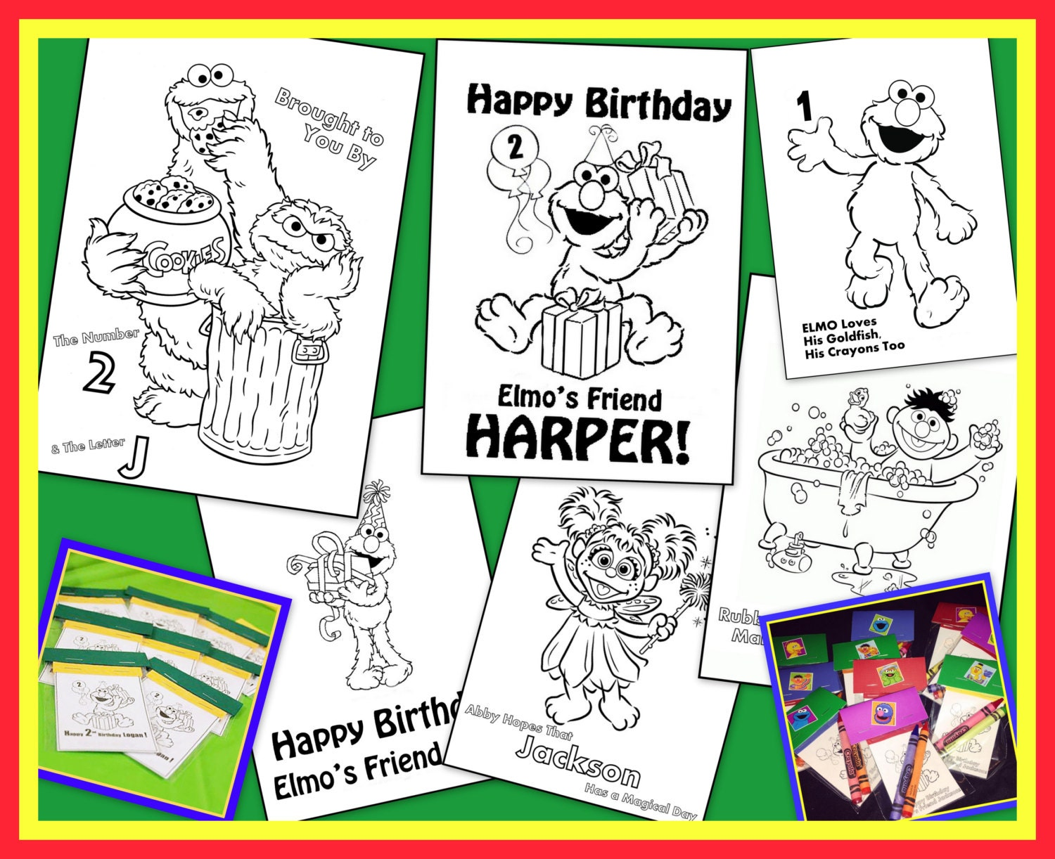 Sesame Street / Elmo Personalized Coloring Book Emailed To | Etsy