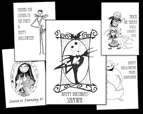 Nightmare Before Christmas Personalized Coloring Book - For Halloween or  Birthday- (emailed as pdf)