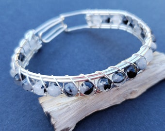 Wire Wrapped Tourmaline Quartz Bracelet, Black and White, Cute Everyday Sterling Silver Wire Wrap Bangle, Silver Wire Bracelet