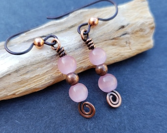 Handmade Simple Wire Wrapped Pink Cats Eye Glass Dangle and Drop Earrings