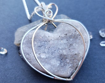 Handmade Wire Wrapped Sterling Silver Large Druzy Heart Necklace, Ready to Ship Jewelry