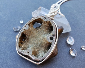 Handmade Wire Wrapped Sterling Silver Fossil Pyritized Ammonite Necklace, Ready to Ship Jewelry