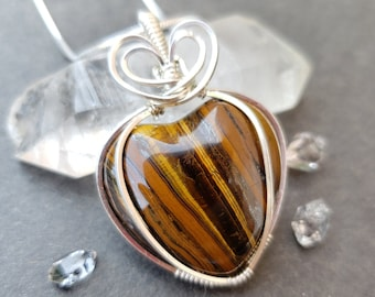 Natural Tigers Eye Heart Stone Wire Wrapped in Sterling Silver, Fall Fashion, Handmade Necklace