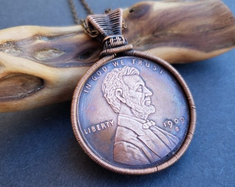 Handmade Copper Wire Wrapped Oversized Penny Necklace
