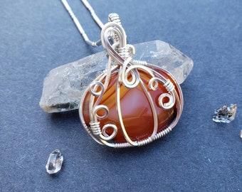 Red Carnelian Wire Wrapped Pumpkin Sterling Silver Pendant