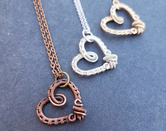 Wire Wrapped Heart Necklace, Handmade Heart Necklace, Copper Heart Pendant, Romantic Gifts