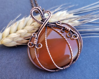 Handmade Oxidized Copper Wire Woven Natural Carnelian Large Pumpkin Necklace