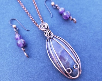 Amethyst Copper Gift Set, Handmade Wire Wrapped Oxidized Copper Amethyst Necklace and Earrings Gift Set