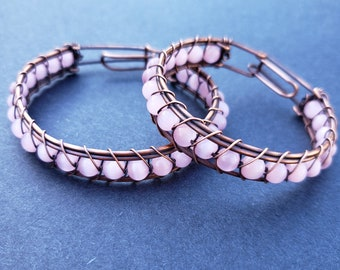 Handmade Wire Wrapped Copper Bracelet with Pink Cat Eye Glass Beads