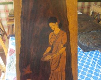 Wooden Marquetry Inlay Woman Feeding Birds