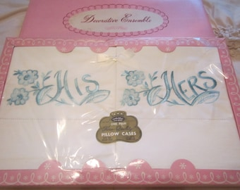 His and Hers Vintage Pillow Case Set
