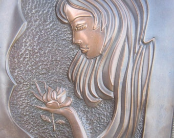 Copper Hand Hammered and Pressed Plaque Girl Holding Rose