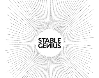 Stable Genius - Humorous - Typography - Modern Wall Art - Black and White