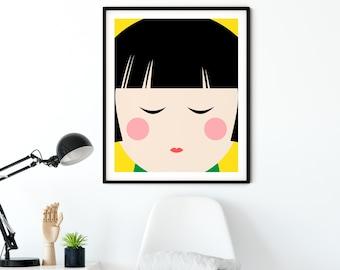 Japanese Kokeshi Doll Print