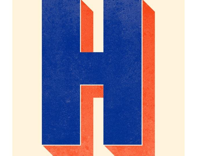The Letter H, Original Art Print, Typography, Alphabet, Monogram, Navy Blue, Red Orange